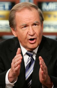 "WASHINGTON - JUNE 24:  24:  Political commentator Pat Buchanan speaks during a taping of ""Meet the Press"" at the NBC Studios June 24, 2007 in Washington, DC. Buchanan and U.S. Rep. Luis Gutierrez (D-IL) discussed immigration reform in the U.S.  (Photo by Alex Wong/Getty Images for Meet the Press)"